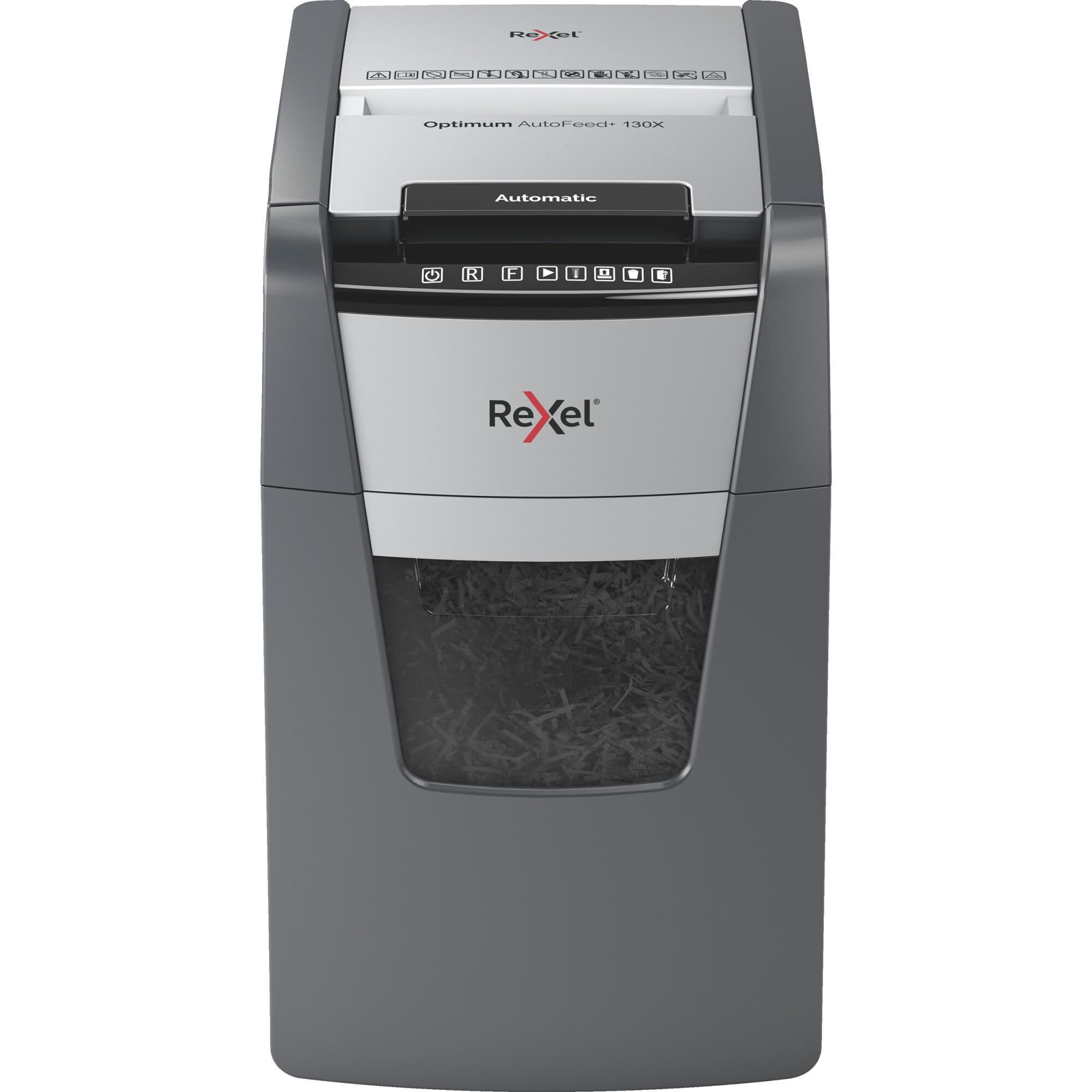 Fotografie Distrugator documente automat REXEL OPTIMUM 130X, P4, cross-cut (confeti), 130 coli, cos 44l, negru-gri