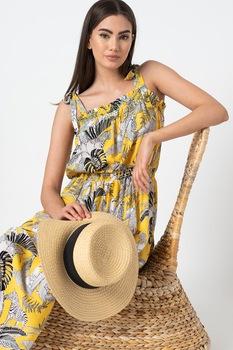 ESPRIT Bodywear, Tulum mintás strandruha, Sárga/Fekete/Fehér