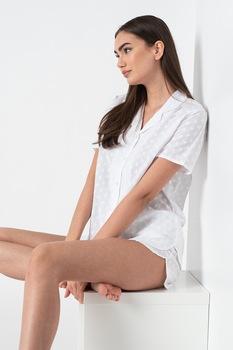 ESPRIT Bodywear, Deliah rövid ujjú pizsama virágos hímzéssel, Fehér