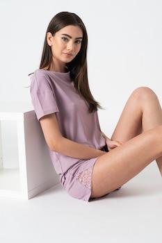 ESPRIT Bodywear, Dagna bordázott pizsama csipkebetéttel, Lila
