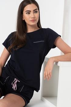 ESPRIT Bodywear, Diara rövid pizsama kontrasztos részletekkel, L, Sötétkék