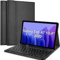 Samsung Galaxy Tab A7 10.4 (2020) WIFI / LTE SM-T500 / SM-T505 Tok álló, bőr flip tok, BLUETOOTH billentyűzet, QWERTY, angol nyelvű, fekete