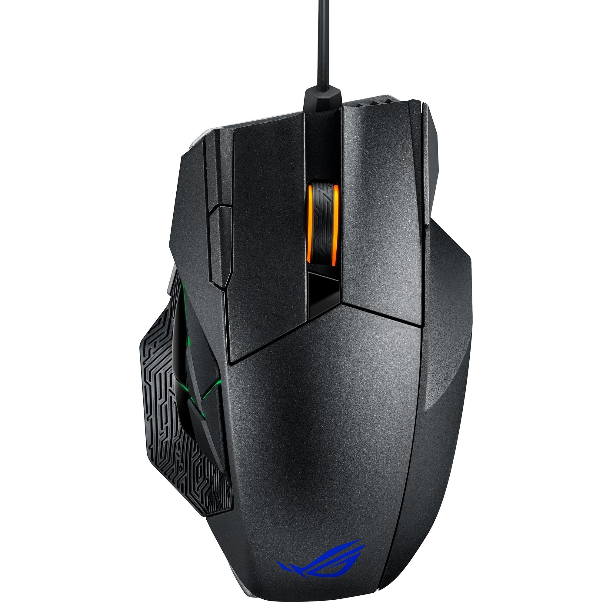 Fotografie Mouse gaming wireless ASUS ROG Spatha, RGB, switch-uri Omron, 8200 dpi, 12 butoane, conectivitate dual-mod (cu fir/2.4 GHz), iluminare Aura Sync, Negru
