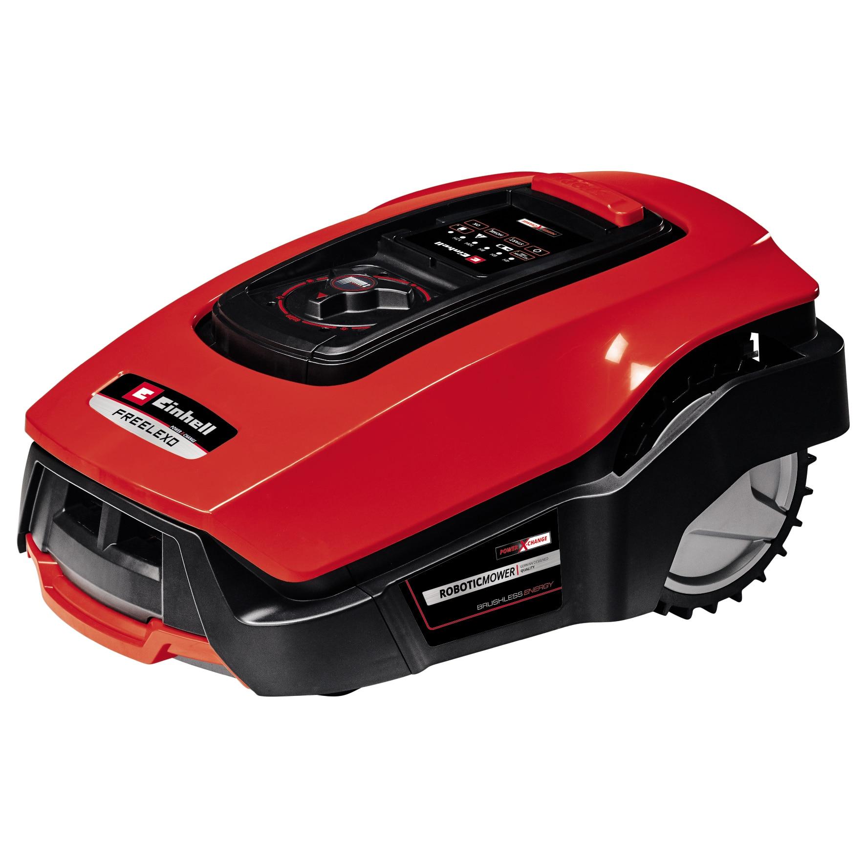 Fotografie Masina electrica robotizata de tuns gazonul Einhell Freelexo Kit 600, 18 V|2,5 Ah Li-Ion, latime taiere 18 cm, inaltime taiere 20 - 60 mm, Bluetooth,senzor ploaie,suprafata recomandata 600 m²