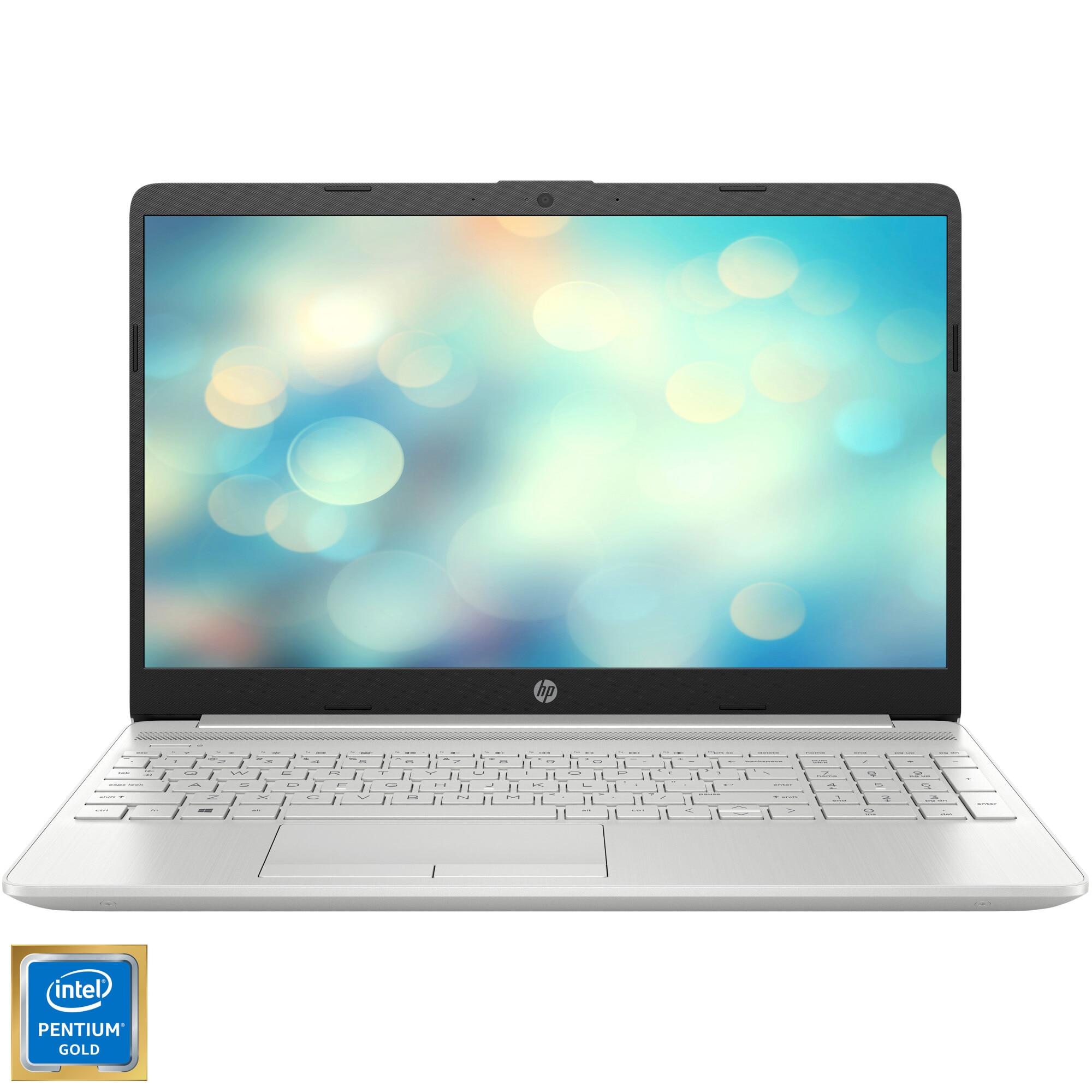 "Fotografie Laptop HP 15 15-dw1016nq cu procesor Intel® Pentium® Gold 6405U 2.40 GHz, 15.6"", Full HD, 4GB, 256GB SSD, Intel® UHD Graphics, Free DOS, Natural silver"