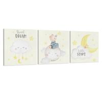 Készlet 3 festmény vászon gyerekeknek, A mackó a Holdon, 30x30 cm