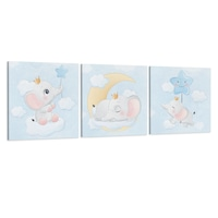 Készlet 3 festmény vászon gyerekeknek, Az elefánt és a csillag, 30x30 cm