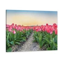Vászonkép, Fakeret, Dekoráció, Tulipánmező, 50x80 cm
