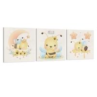 Készlet 3 festmény vászon gyerekeknek, A méhek, 30x30 cm