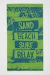DeFacto, Prosop de plaja cu imprimeu text, Verde/Albastru