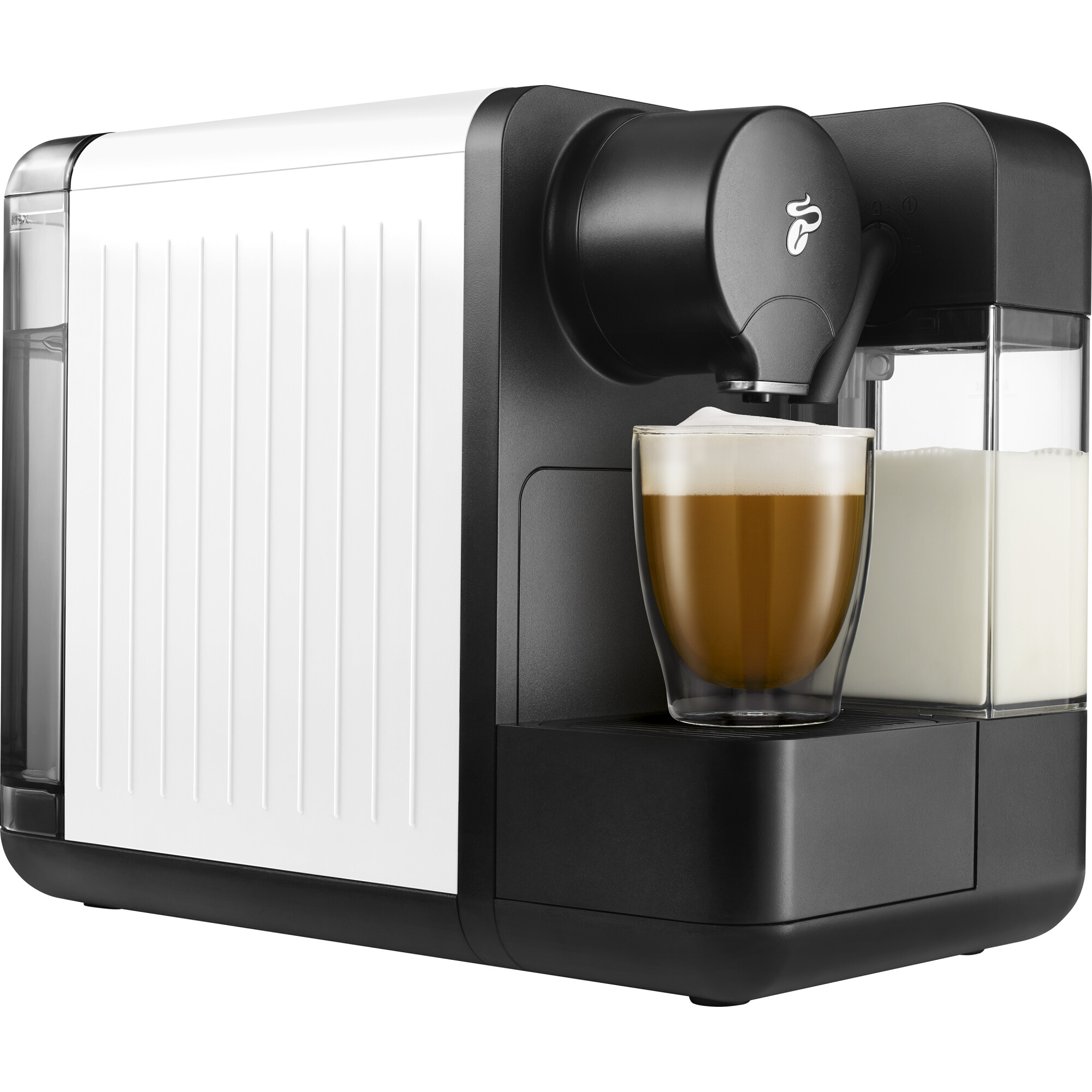 Fotografie Espressor Tchibo Cafissimo milk white, rezervor apa 1.2l, rezervor lapte 400ml, tip bauturi: Espresso Café Crema, Cafea Lunga, Cappuccino, Latte, Alb