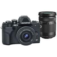 Фотоапарат Мirrorless Olympus E-M10 Mark IV + Обектив M.Zuiko Digital ED 14-42 мм F3.5-5.6 EZ (pancake zoom) & M.Zuiko Digital ED 40-150 мм F4.0-5.6 R, Черен/Черен/Черен