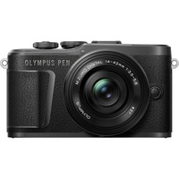 Фотоапарат Мirrorless Olympus E-PL10 + Обектив M.Zuiko Digital ED 14-42 мм F3.5-5.6 EZ (pancake zoom), Micro 4/3, Стабилизация 3 axe, 4K, Wi-Fi&Bluetooth®, Черен/Черен