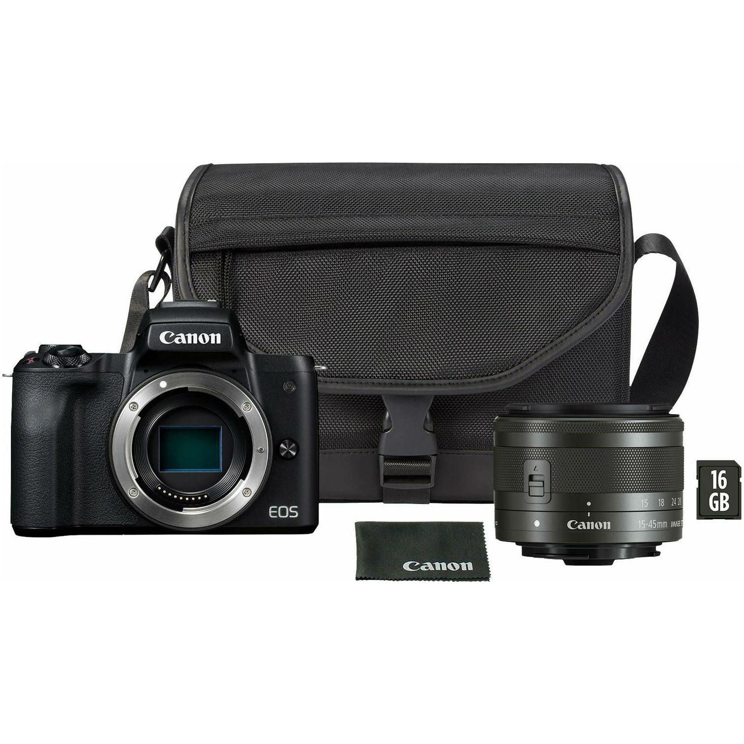 Fotografie Aparat foto mirrorless Canon EOS-M50 Mark II, 24.1 MP, 4K, Wi-Fi, Negru, + Obiectiv 15-45mm + Geanta + Card memorie 16GB