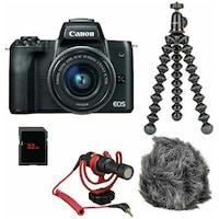 Фотоапарат Мirrorless Canon EOS-M50 Mark II, 24.1 MP, 4K, Wi-Fi, Черен, Live Stream Kit