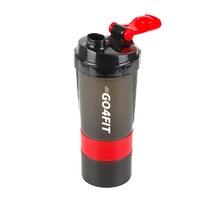 Shaker GO4FIT, din plastic fara BPA, 600 ml pentru prepararea bauturilor proteice, rosu