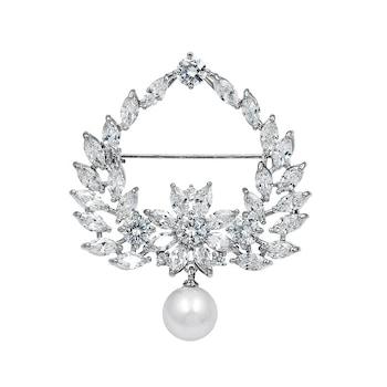Brosa argintie, cu pietre din zirconiu si perla, Saskia C2, Pursehuit