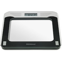Cantar corporal Medisana PS 425 40448, 180kg, afisaj LCD, 4 senzori de masurare, difuzare vocala, Argintiu/Negru