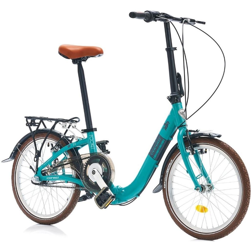 """Fotografie Bicicleta de oras pliabila Corelli Pocket 2.0, 16"""", 3-viteze Shimano Nexus, culoare albastru-turcoaz"""