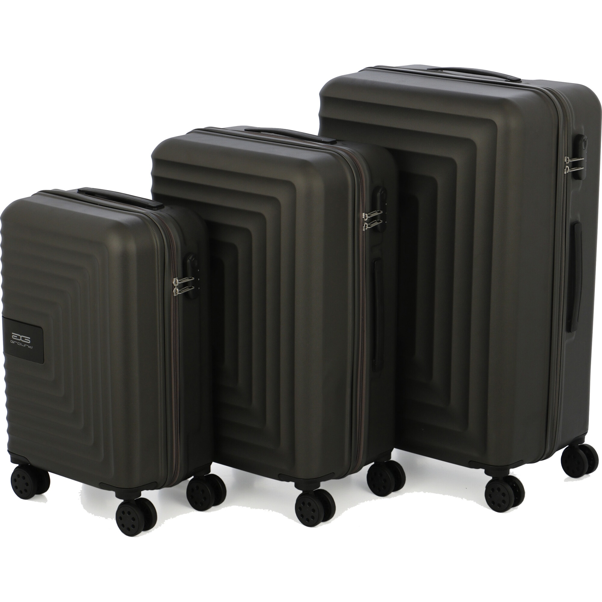 Fotografie Set 3 trolere VELVET, ABS, marime S+M+L, culoare dark-grey