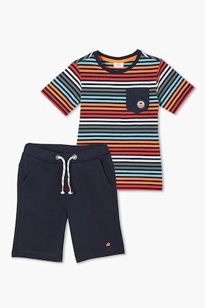 s.Oliver, Csíkos póló és bermudanadrág szett, sötétkék/piros/narancssárga, 104-110 CM Standard