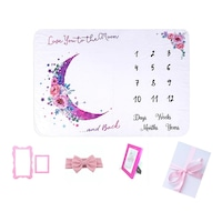 Set Cadou nou nascut, Fata, Paturica aniversara, Baby Shower, Love you to the moon and back, 5 piese, roz