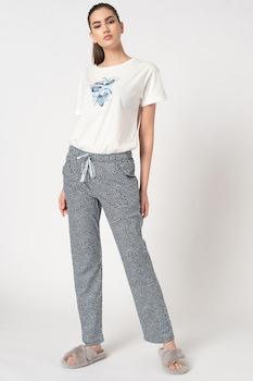 Triumph, Mintás organikuspamut pizsama, Fehér/Tengerészkék