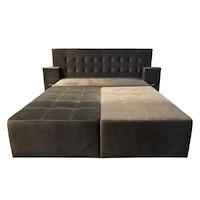 Canapea extensibila cu tablie de pat Rafael 160, Iza, Relaxa, lada, noptiere, perne, culoare cafeniu, plus, 250x115x105