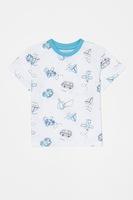 OVS, Пижама с къси ръкави и щампа, Светлосин / Бял, 86 CM Standard