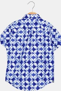 GAP, Camasa cu maneci scurte si model geometric, albastru inchis/alb