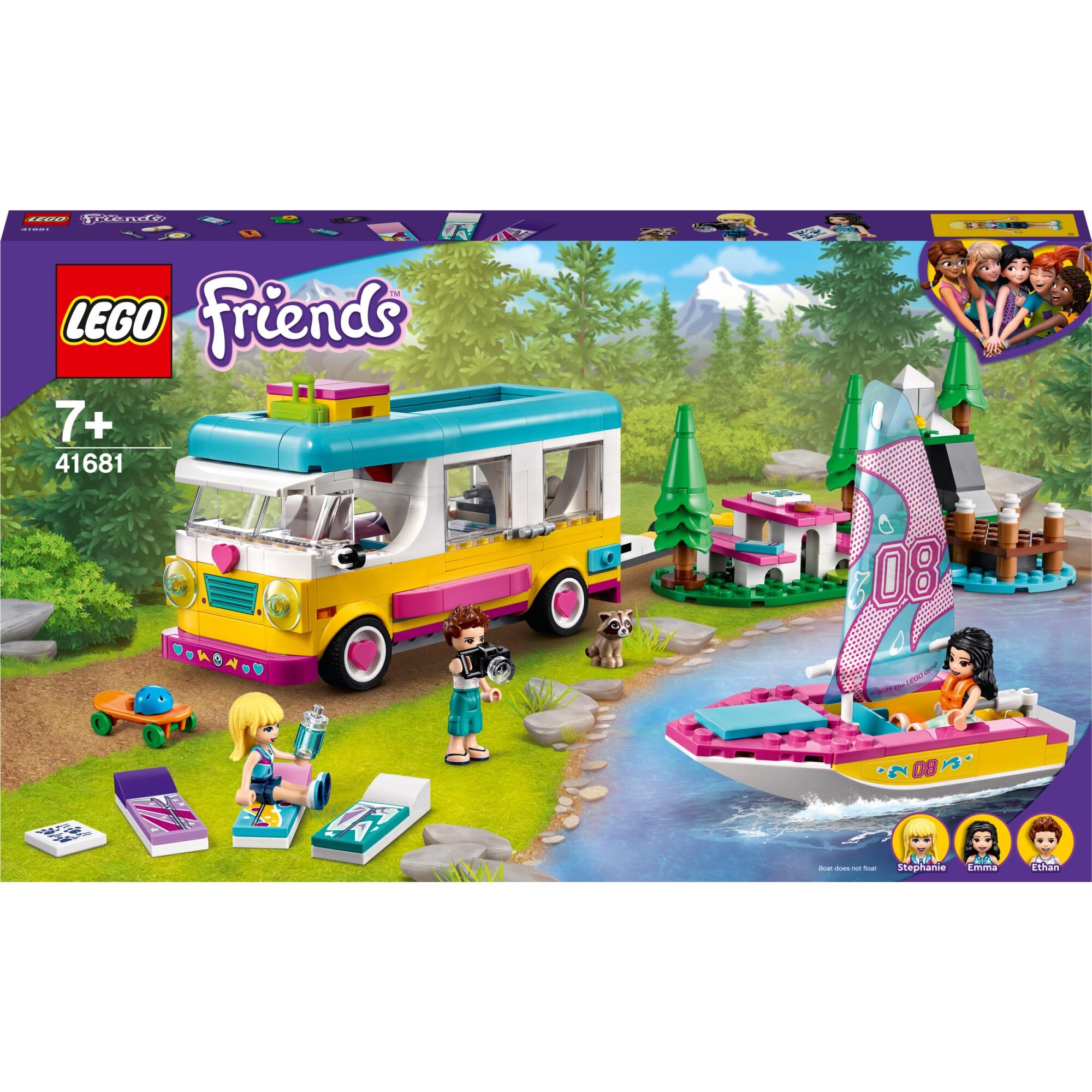 Fotografie LEGO Friends - Furgoneta de camping si barca cu panze 41681, 487 piese