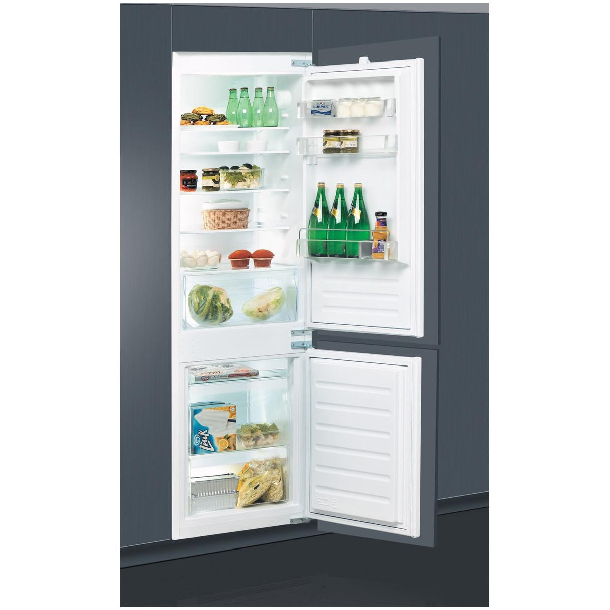 Fotografie Combina frigorifica incorporabila Whirlpool ART650221, 273l, Clasa F, LessFrost, Fresh Box, H 177 cm, Alb