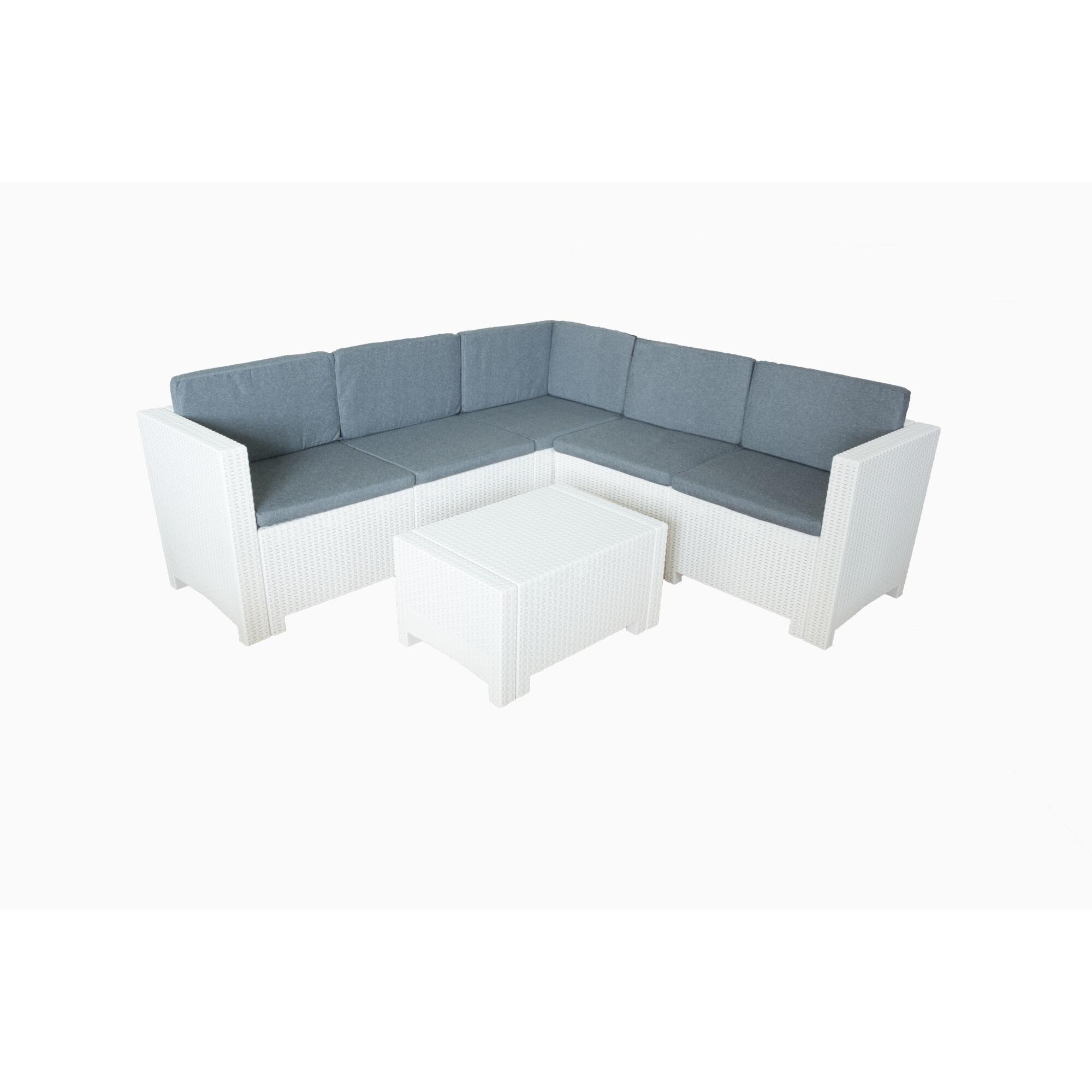 Fotografie Set mobilier gradina/terasa Colorado, coltar 5 locuri + masuta, perne incluse, alb