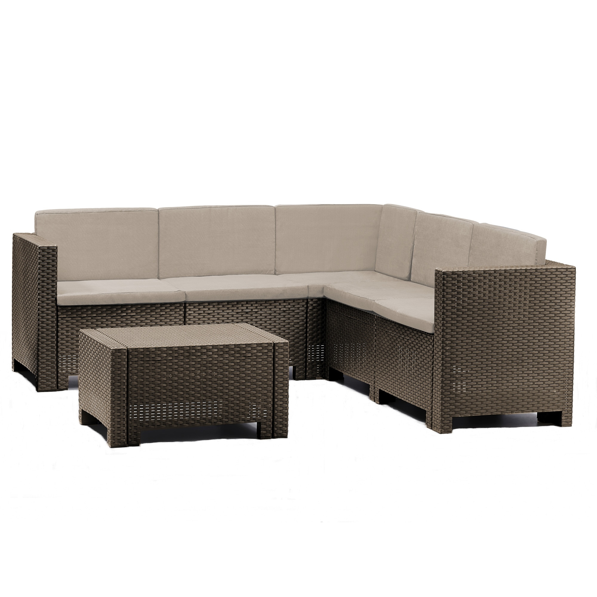 Fotografie Set mobilier gradina/terasa Colorado, coltar 5 locuri + masuta, perne incluse, maro