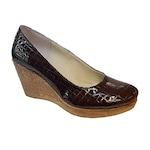Pantofi dama cu platforma din piele naturala croco, maro, 39