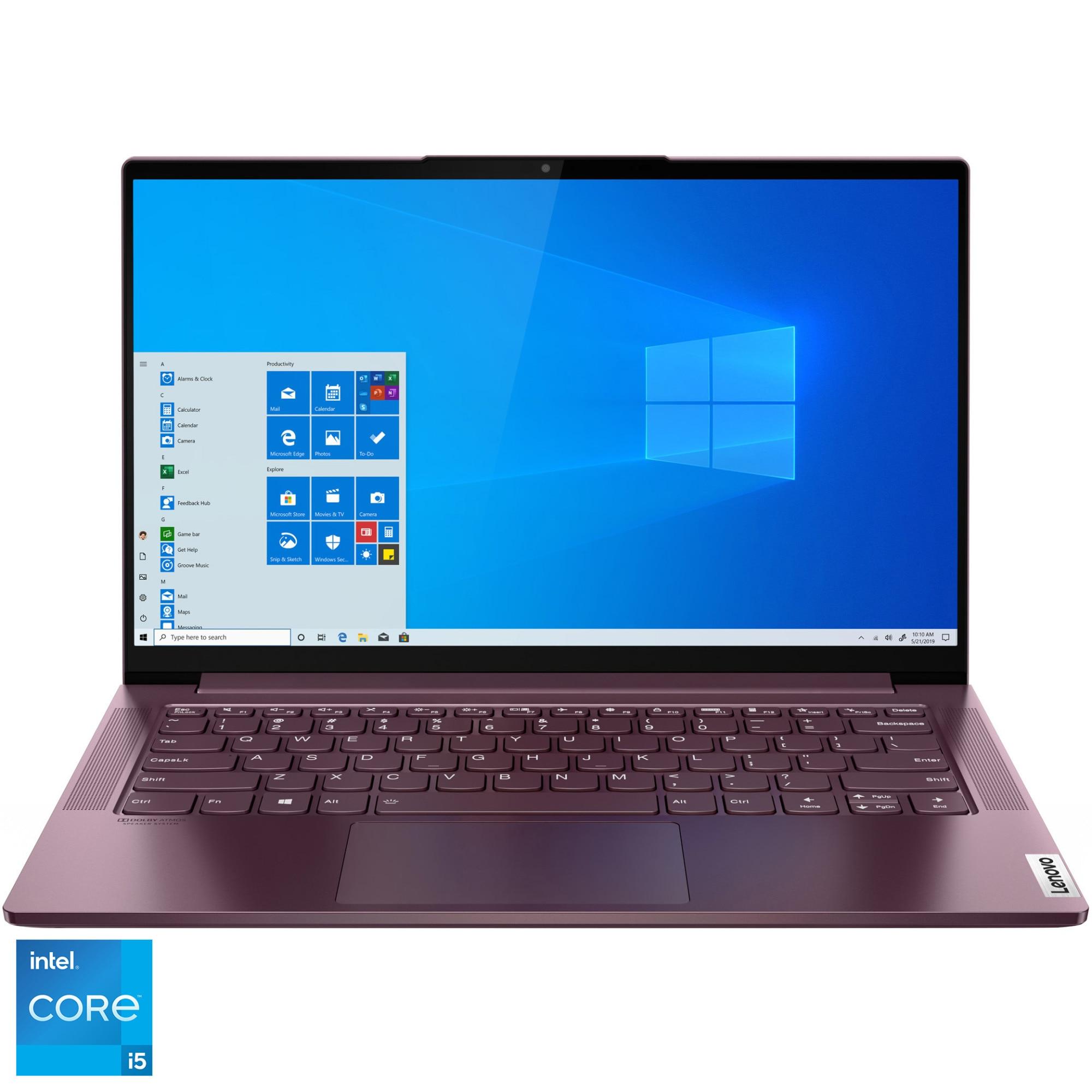 "Fotografie Laptop ultraportabil Lenovo Yoga Slim 7 14ITL05 cu procesor Intel Core i5-1135G7 pana la 4.20 GHz, 14"", Full HD, 8GB, 512GB SSD, Intel Iris Xe Graphics, Windows 10 Home, Orchid"