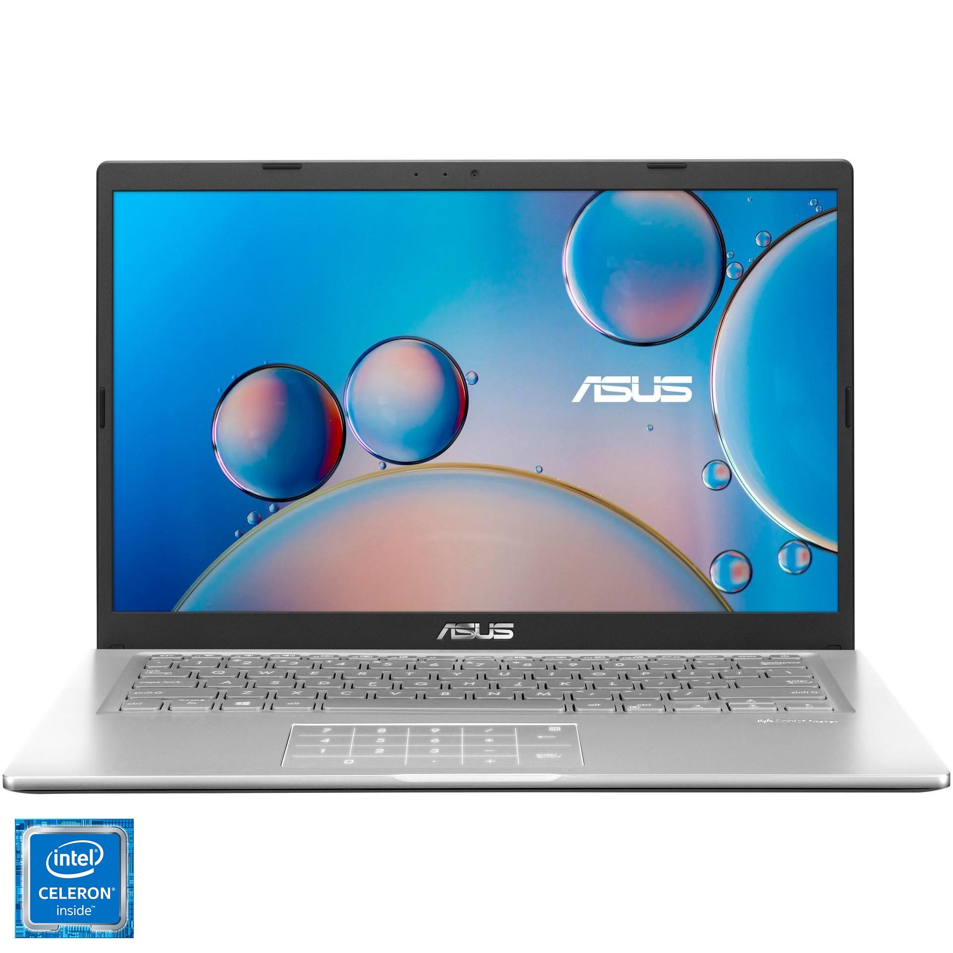 "Fotografie Laptop ultraportabil ASUS X415MA cu procesor Intel® Celeron® N4020 pana la 2.80 GHz, 14"", Full HD, 4GB, 256GB SSD, Intel® UHD Graphics 600, Free DOS, Transparent silver"