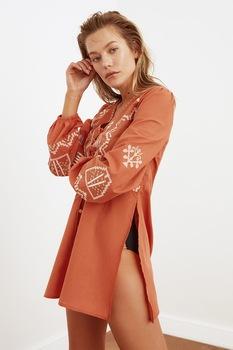 Trendyol, Hímzett strandruha oldalhasítékokkal, Fahéjbarna
