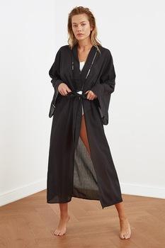 Trendyol, Kimono fazonú enyhén áttetsző bő strandruha, Fekete