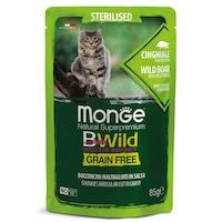 Мокра храна за котки Monge Sterilised Bwild, Глиган и зеленчуци, Сос грейви, 12 бр x 85 гр