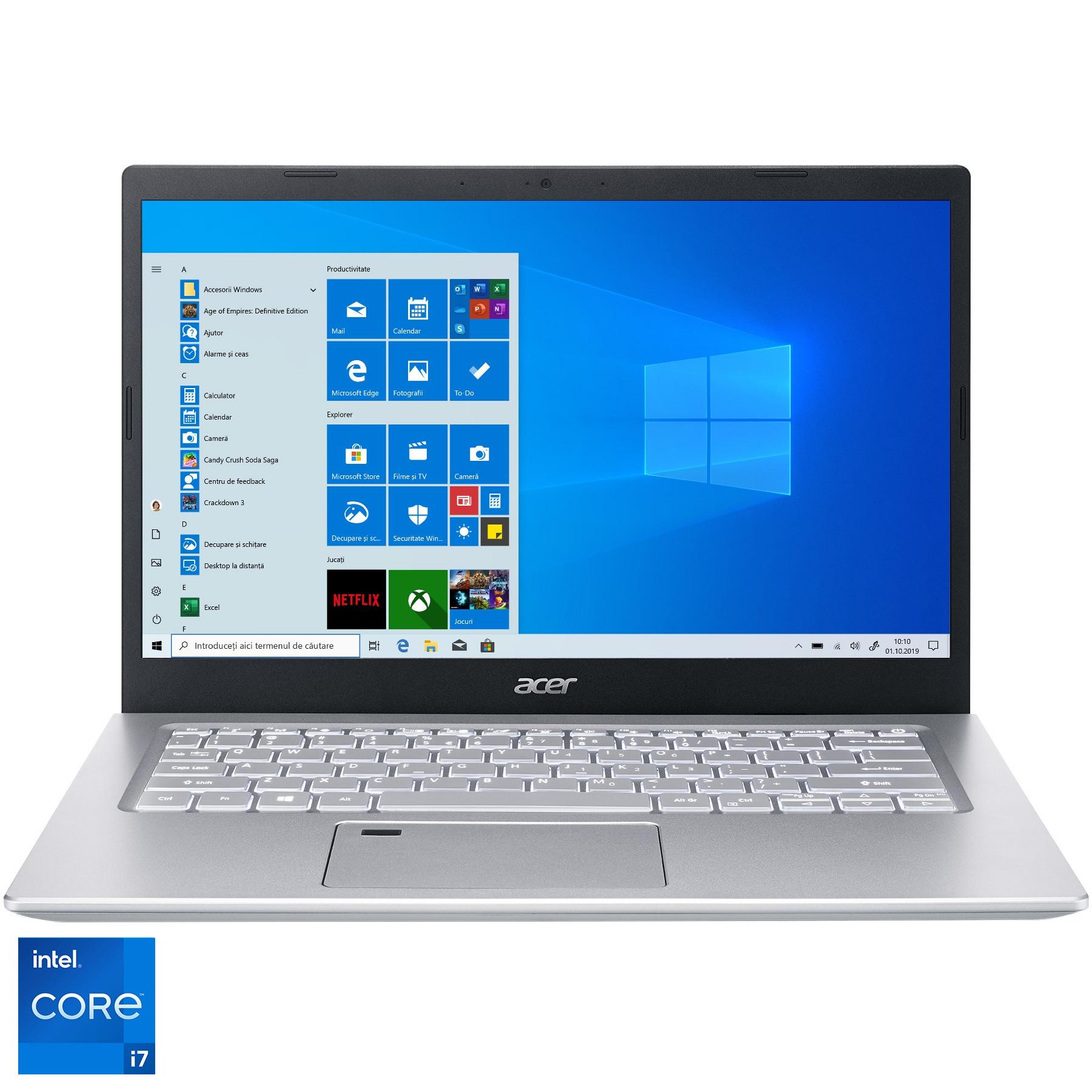 "Fotografie Laptop ultraportabil Acer Aspire A514-54 cu procesor Intel Core i7-1165G7, 14"", Full HD, 16GB, 512GB SSD, Intel Iris Xe Graphics, Windows 10 Home, Pure Silver"