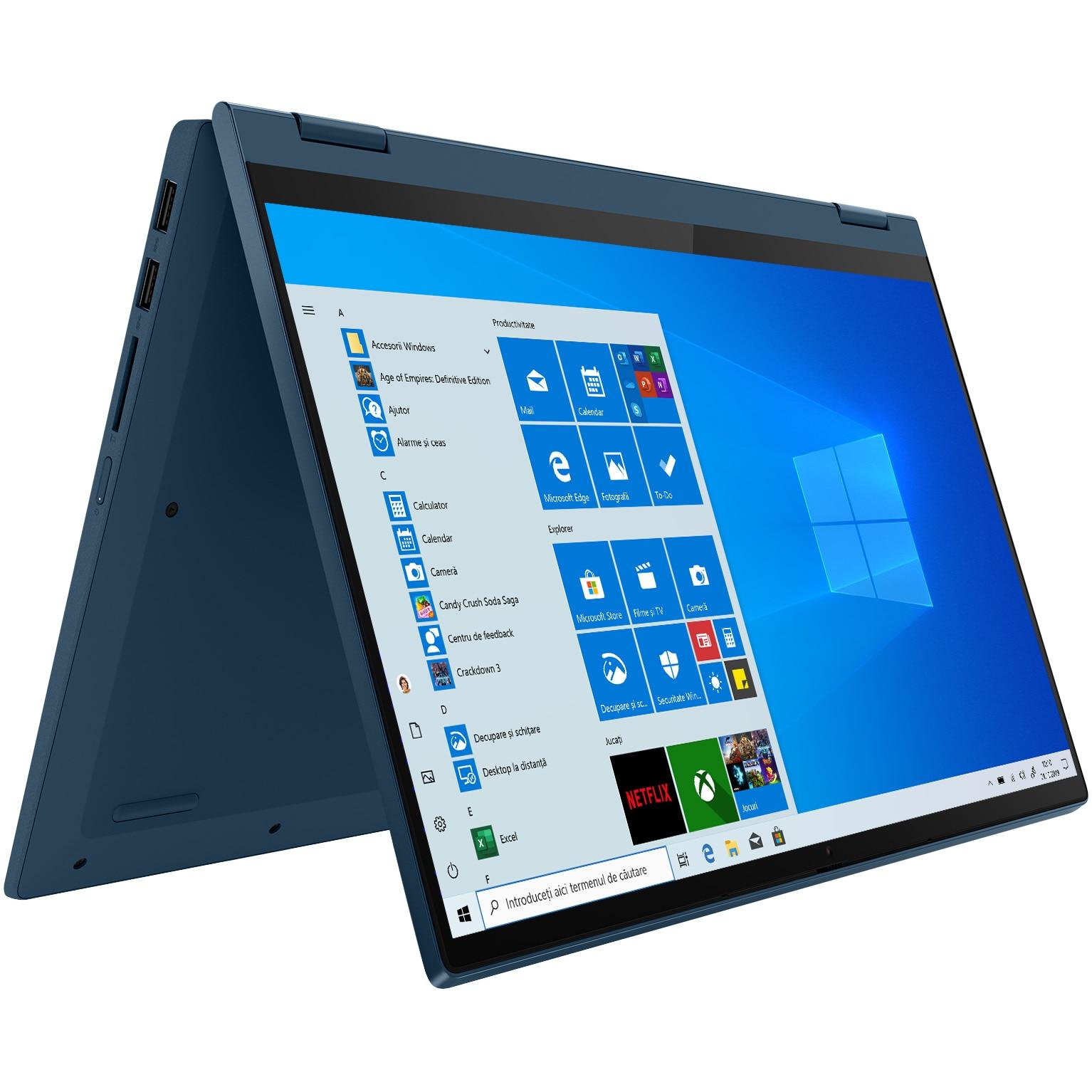 "Fotografie Laptop 2 in 1 Lenovo IdeaPad Flex 5 14ALC05 cu procesor AMD Ryzen 7 5700U pana la 4.30 GHz, 14"", Full HD, Touch, 16GB, 512GB SSD, AMD Radeon Graphics, Windows 10 Home, Abyss Blue"