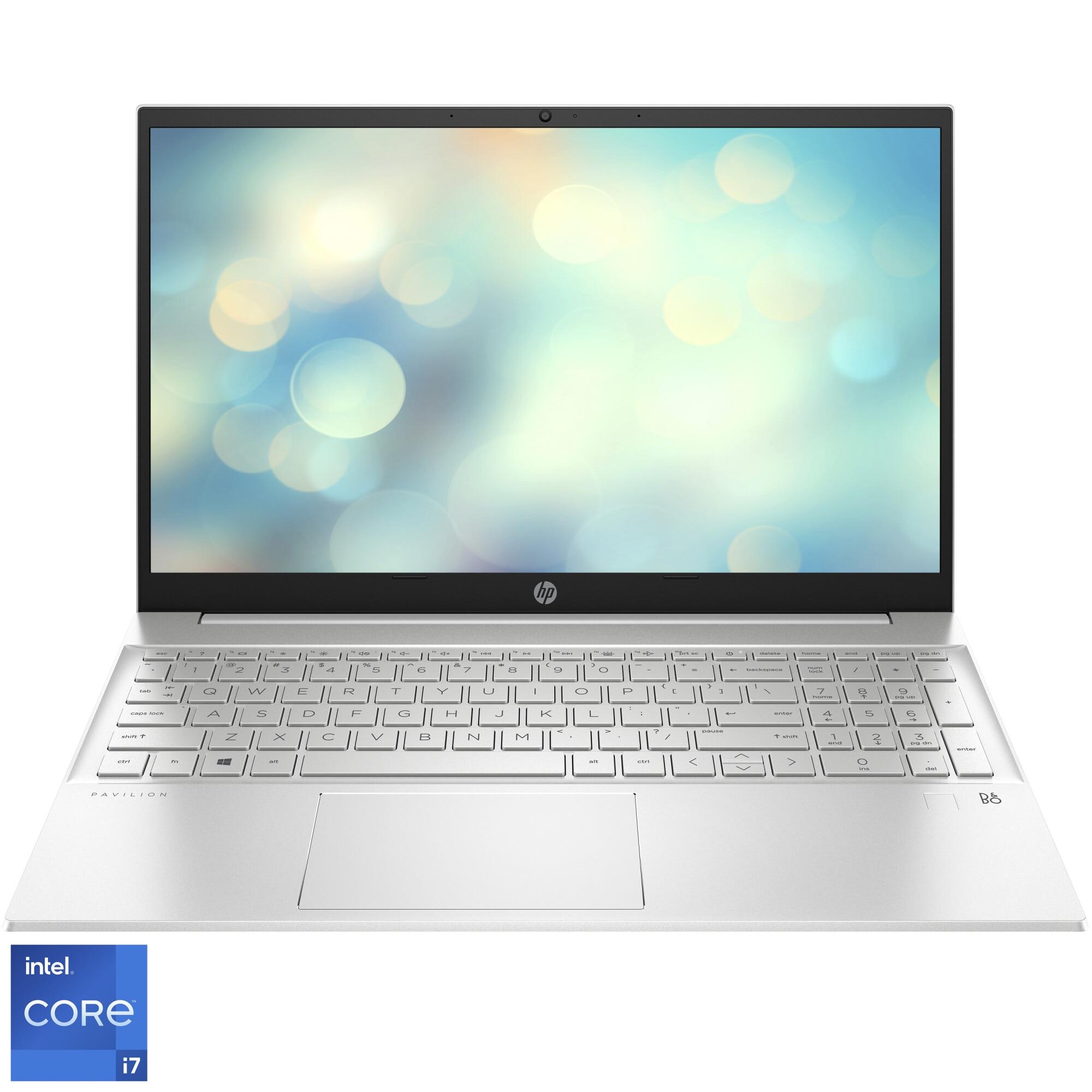 "Fotografie Laptop HP Pavilion 15-eg0068nq cu procesor Intel® Core™ i7-1165G7 pana la 4.70 GHz, 15.6"", Full HD, 8GB, 512GB SSD, Intel® Iris® Xᵉ Graphics, Free DOS, Natural silver"