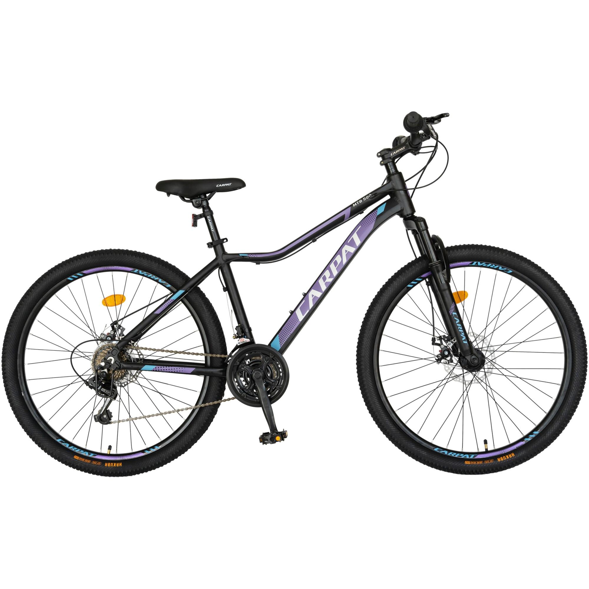"""Fotografie Bicicleta Carpat MTB 26"""" C2652A, cadru AL, Negru/Mov"""
