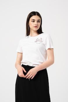 Only, Kita organikuspamut póló strasszköves rátétekkel, Fehér