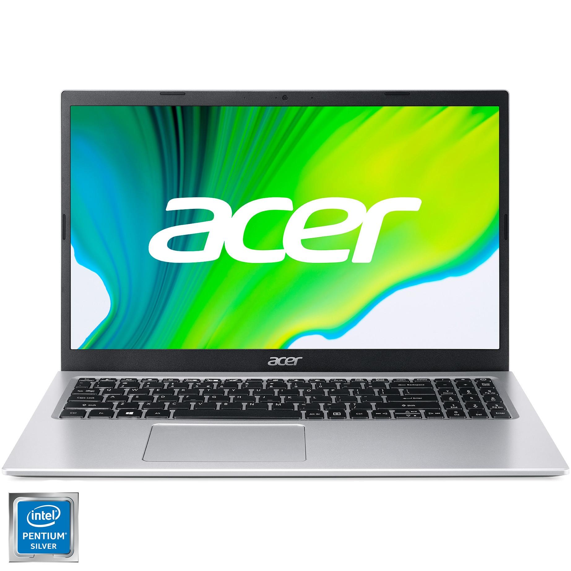 "Fotografie Laptop Acer Aspire 3 A315 cu procesor Intel Pentium® Silver N6000, 15.6"", Full HD, 8GB, 256GB SSD, Intel UHD Graphics, No OS, Silver"