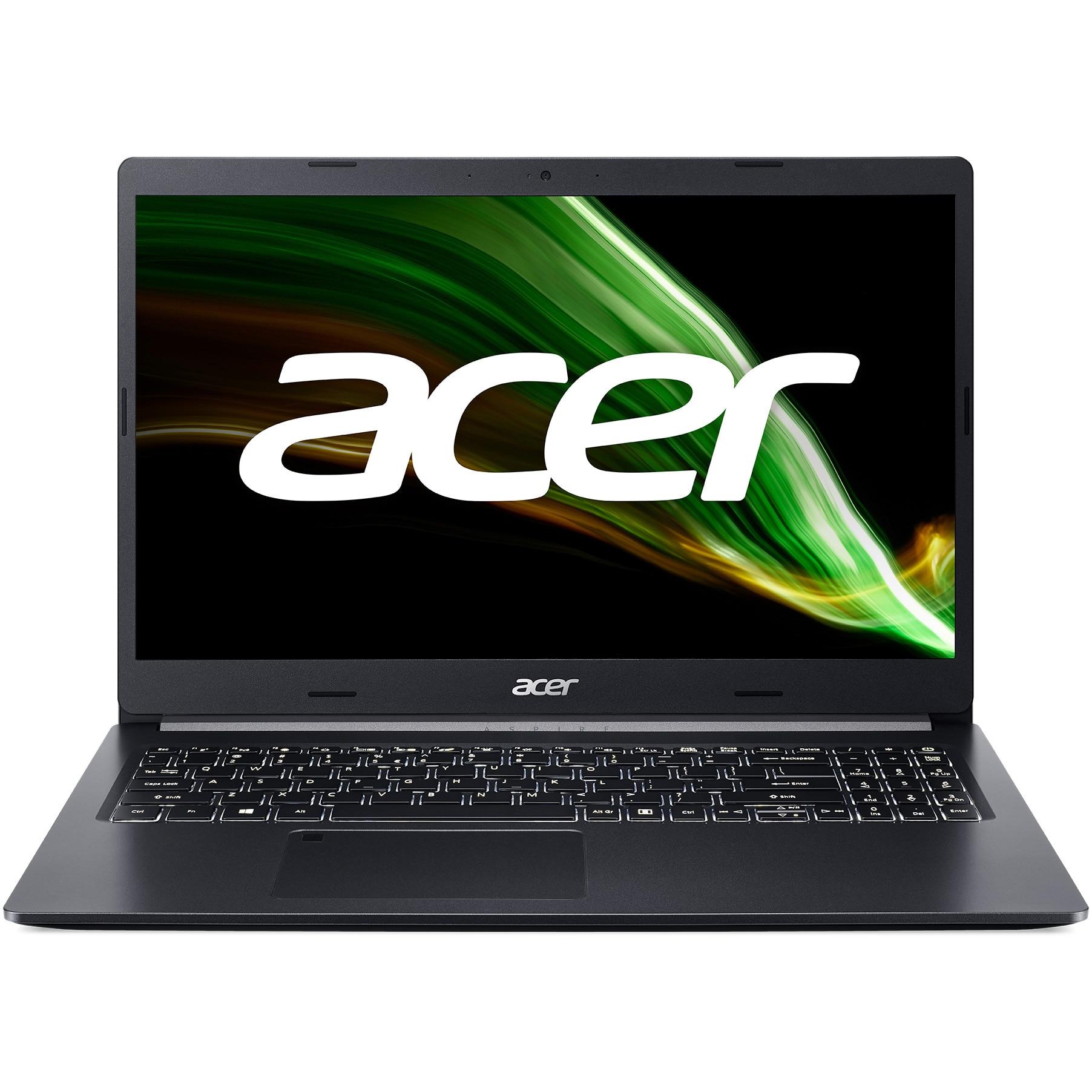 """Fotografie Laptop Acer Aspire 5 A515 cu procesor AMD Ryzen 5 5500U, 15.6"""", Full HD, 16GB, 512GB SSD, AMD Radeon™ RX 640 2GB, No OS, Black"""