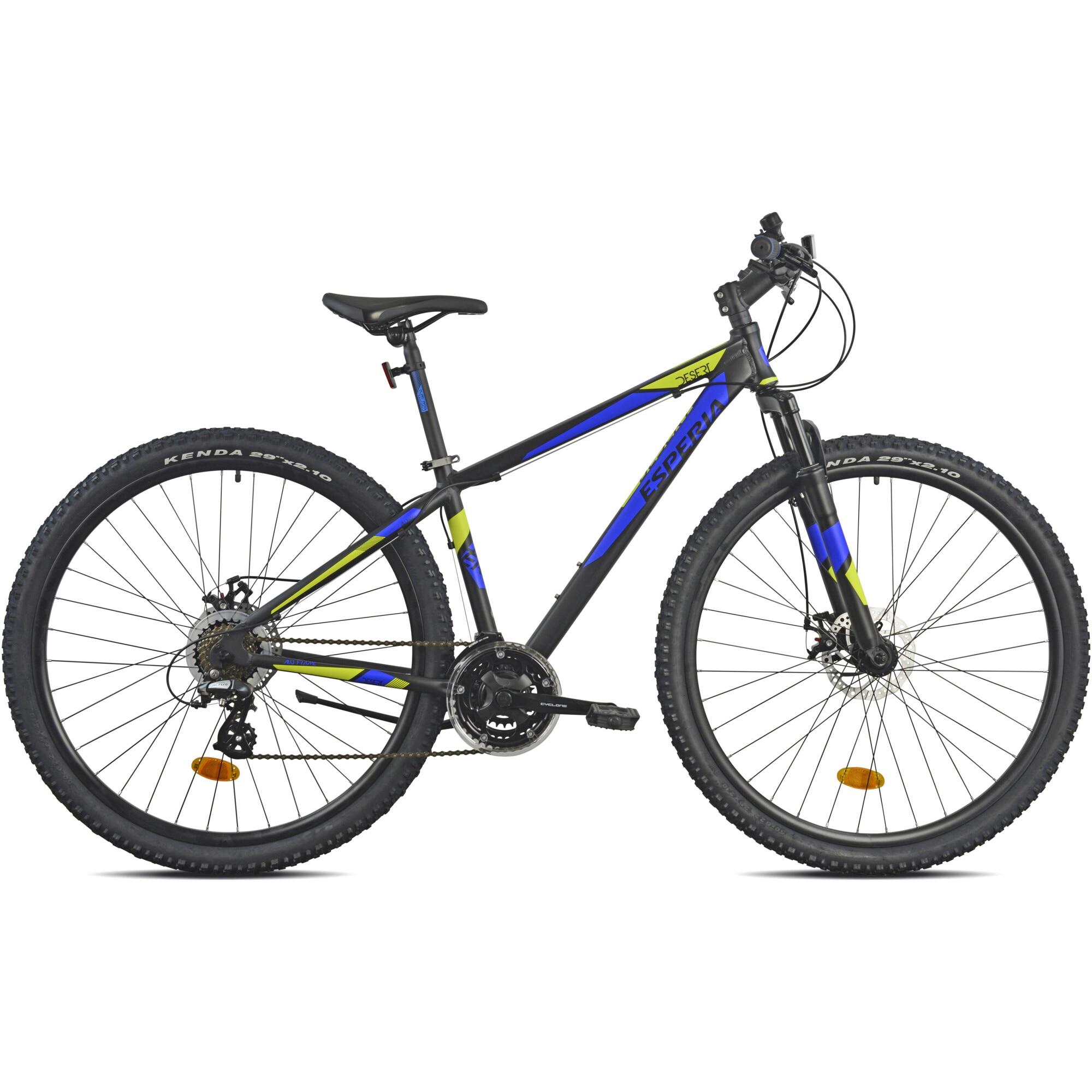 Fotografie Bicicleta MTB 29-er Esperia Cadru Al, Shimano, Negru/Albastru/Galben, 40cm