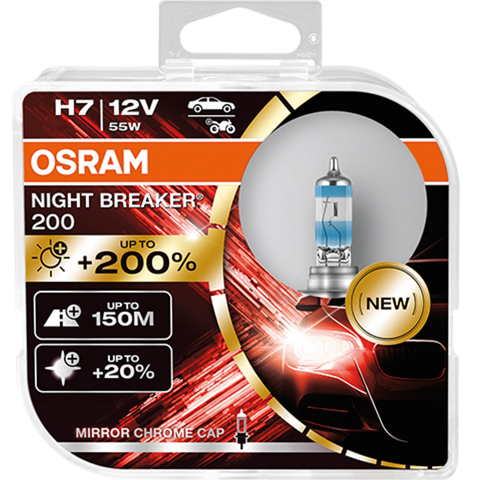 Fotografie Set 2 becuri auto far halogen Osram H7 Night Breaker +200% 55W 12V PX26D SET 2BUC