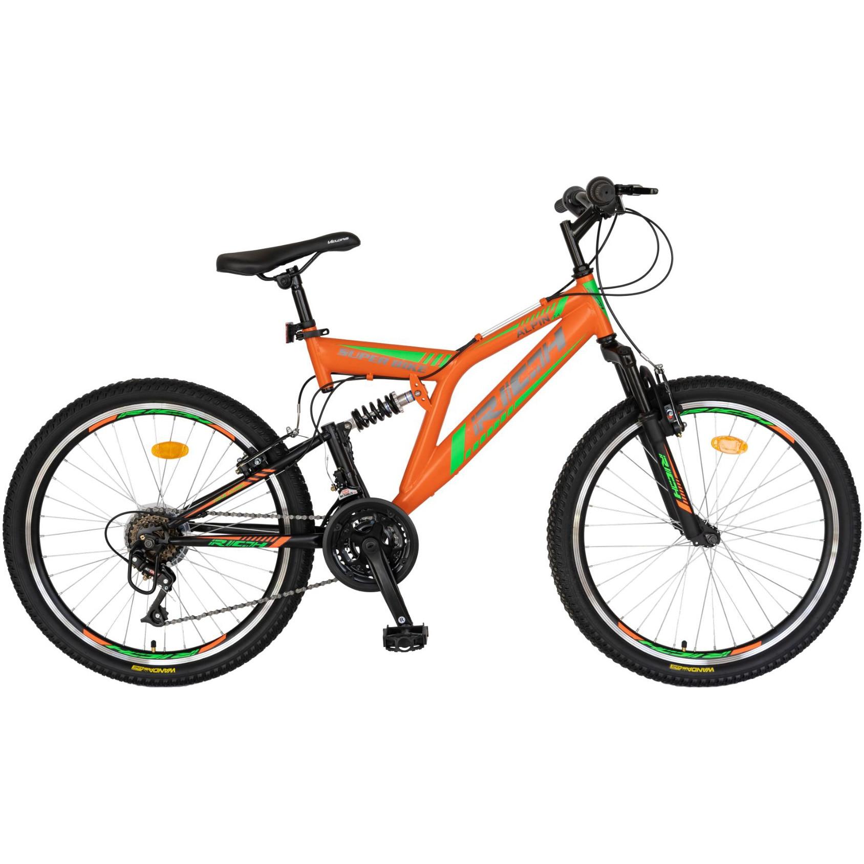 Fotografie Bicicleta Rich MTB FS Alpin R2649 Portocaliu/Verde